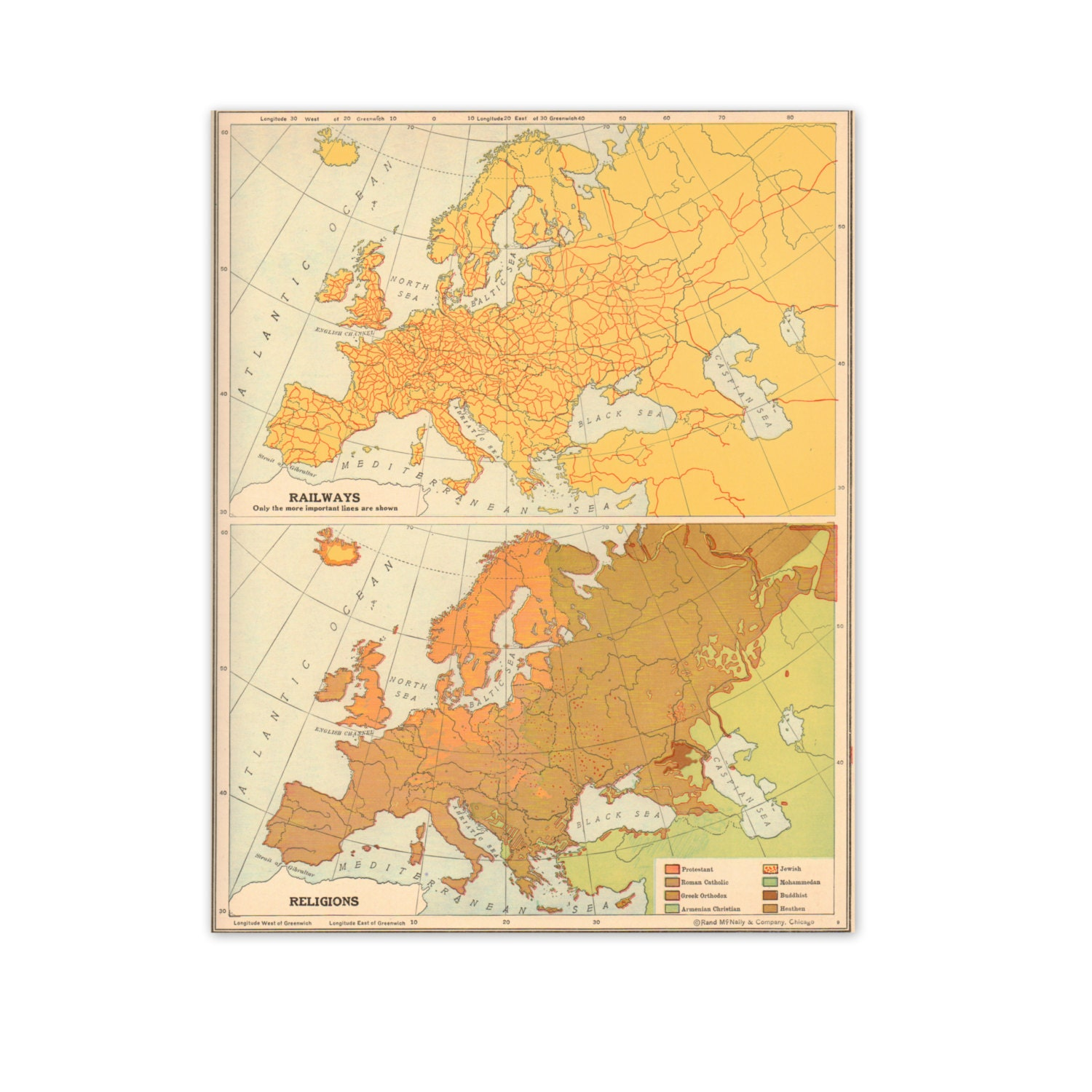 """Vintage 1940s Map of European Railways and Religions. 8"""" x 10"""". Ready to Frame. (No. 806) - GraceArchives"""