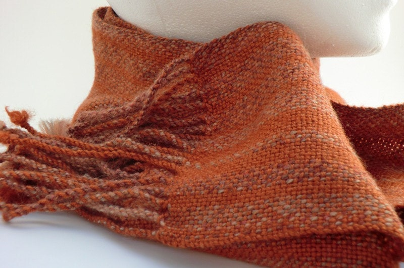 Copper Skinny Scarf Handwoven with Tonal Stripes