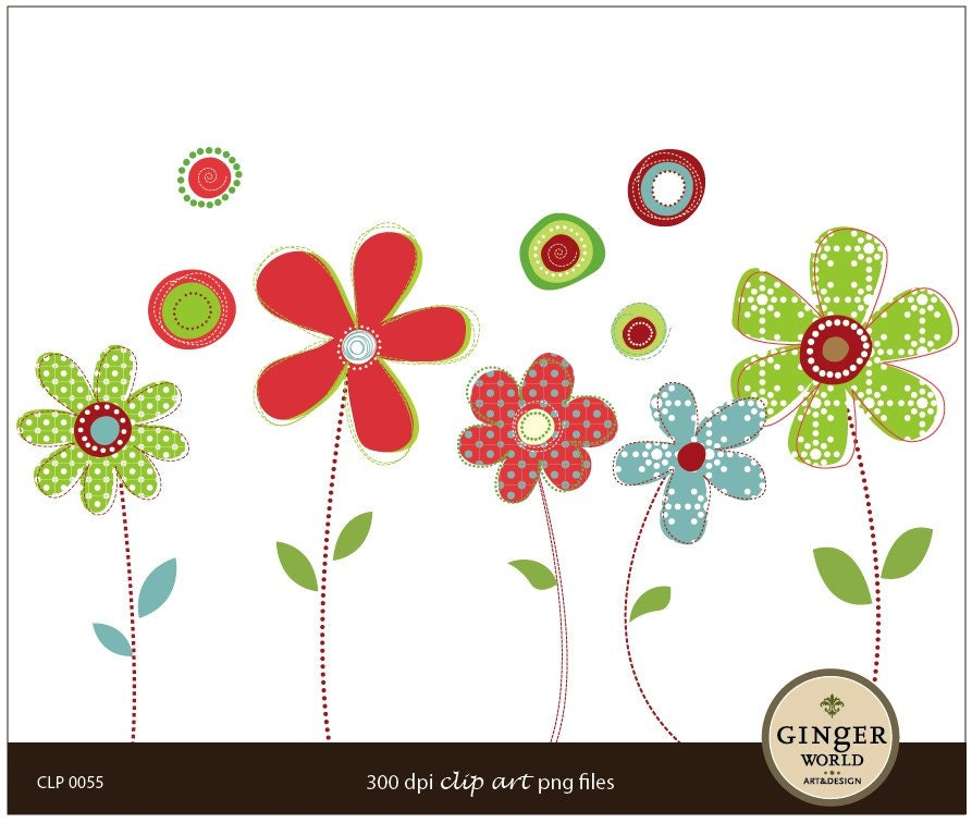 Nieceys Blog Cute Whimsy Modern Flower Clip Art Digital Illustration For Scrapbooking DIY