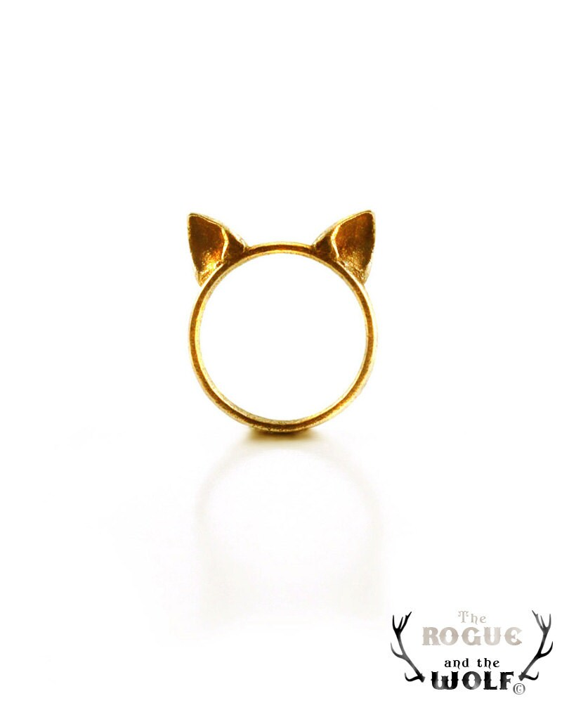 SALE -- Gold Cat Ears Ring, fashion cute ring, Gold cat ring, kawaii Neko ears ring, animal ring, for the feline girl, for the cat woman