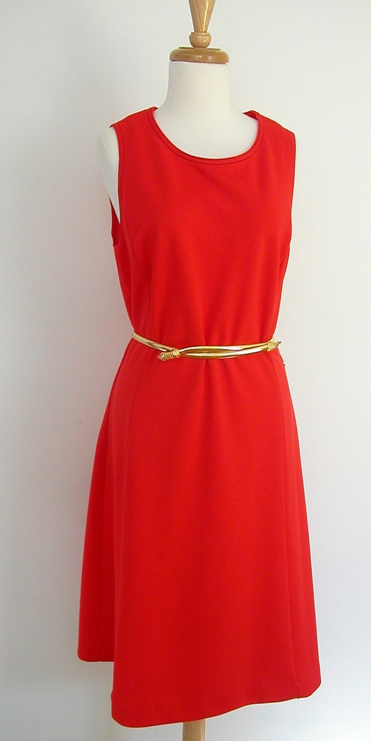 Red  Dress / 70s red dress / shift dress / sheath dress / lg xl