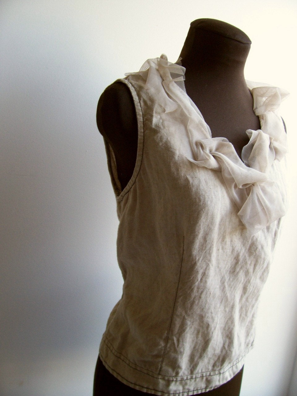 Boho Linen Shirt Toasted Sand Sleeveless Romantic Beach Eco Friendly Summer Camisole Urban Shabby Chic M - colorada