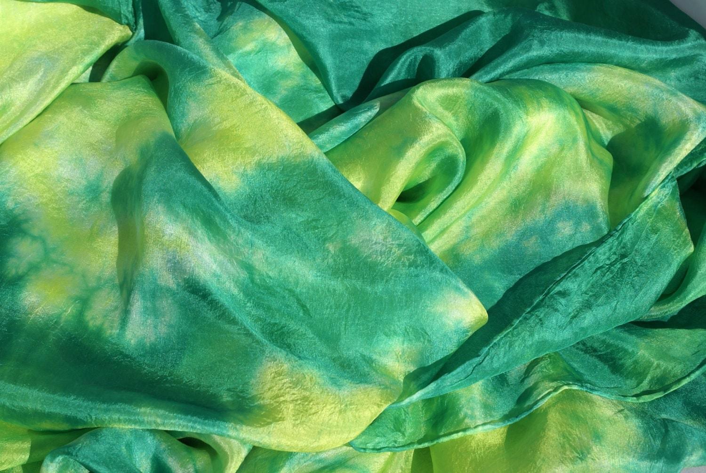 Green and Yellow Silk Belly Dance Veil