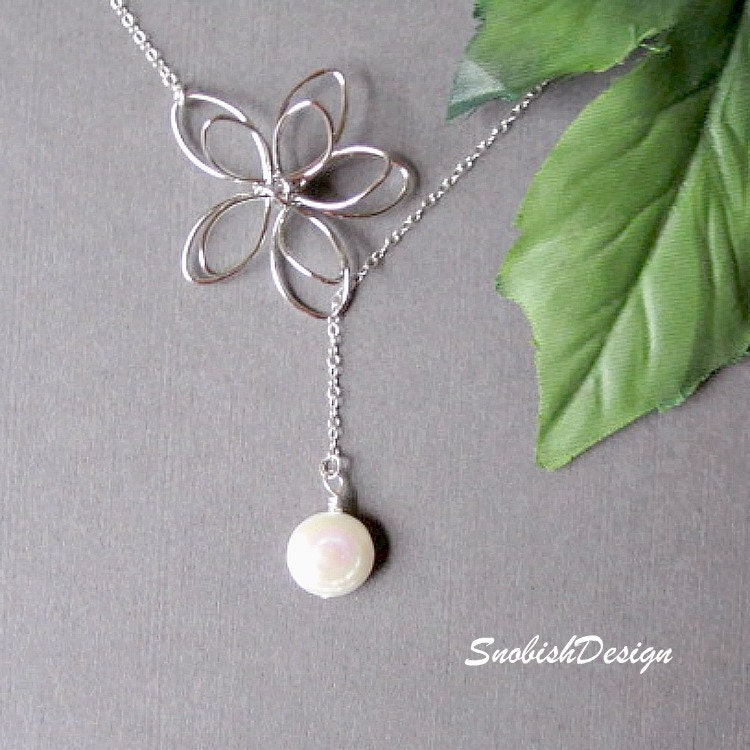 Sterling Silver Jewelry  Coin Pearl Necklace  by SnobishDesign from etsy.com
