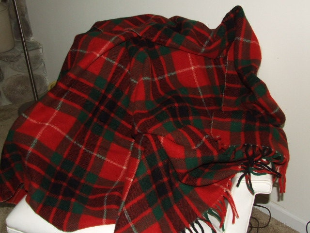 Tartan Plaid Horner Virgin Wool Throw Blanket 68 by 58