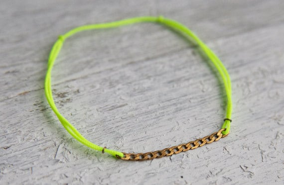 Bronze Chain w/ Neon Colored Bracelet