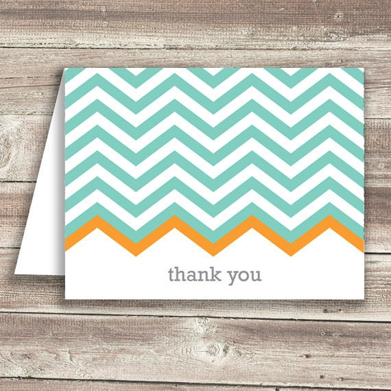 Teal Chevron Thank You Cards (Set of 10) - simplypaperie