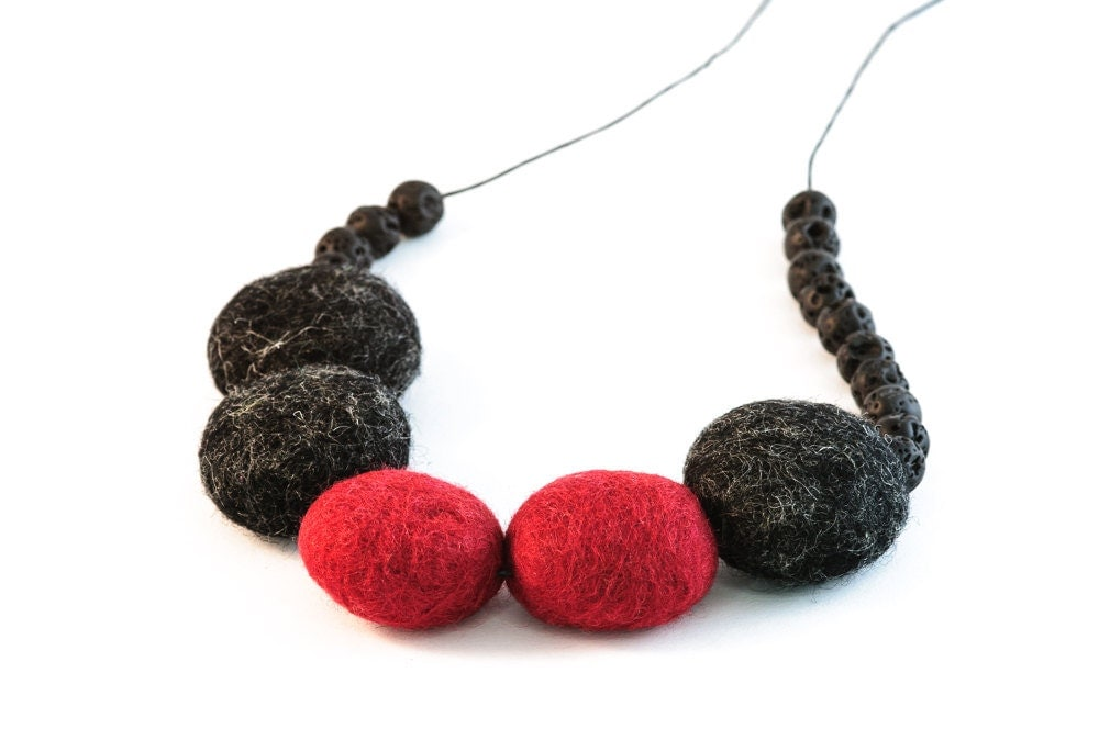 Statement Felted Necklace Beadwork Necklace Felt Bead Jewelry Oxblood Red Black Autumn Fashion
