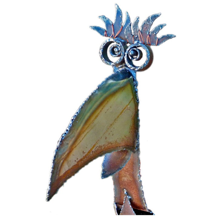 Whimsically Goofy Steel Jungle Bird Sculpture - ScrapHoundStudio