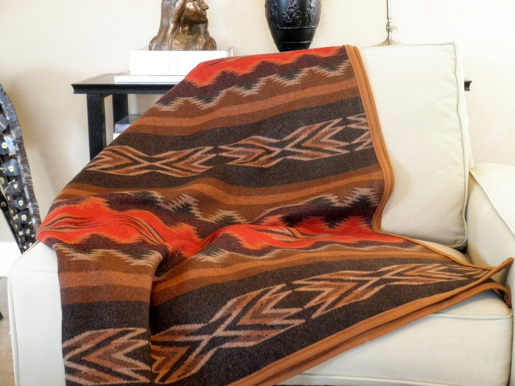 Navajo blanket Pendleton wool blanket REVERSABLE,  natures earthy colors of terra cotta and  brown 66 x 74