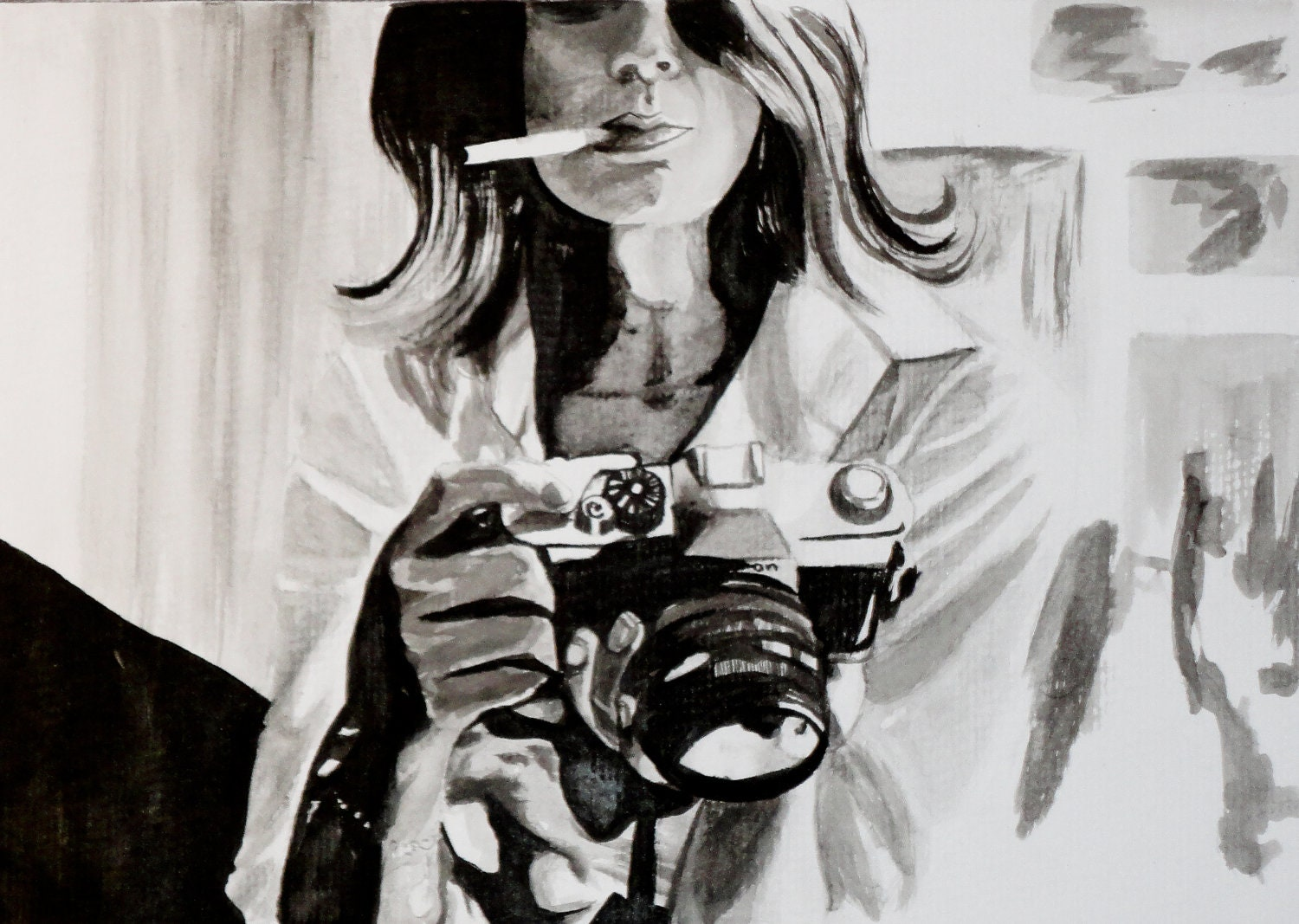 Smoking Woman with Film Camera Art Print in Black and White - KimLegler
