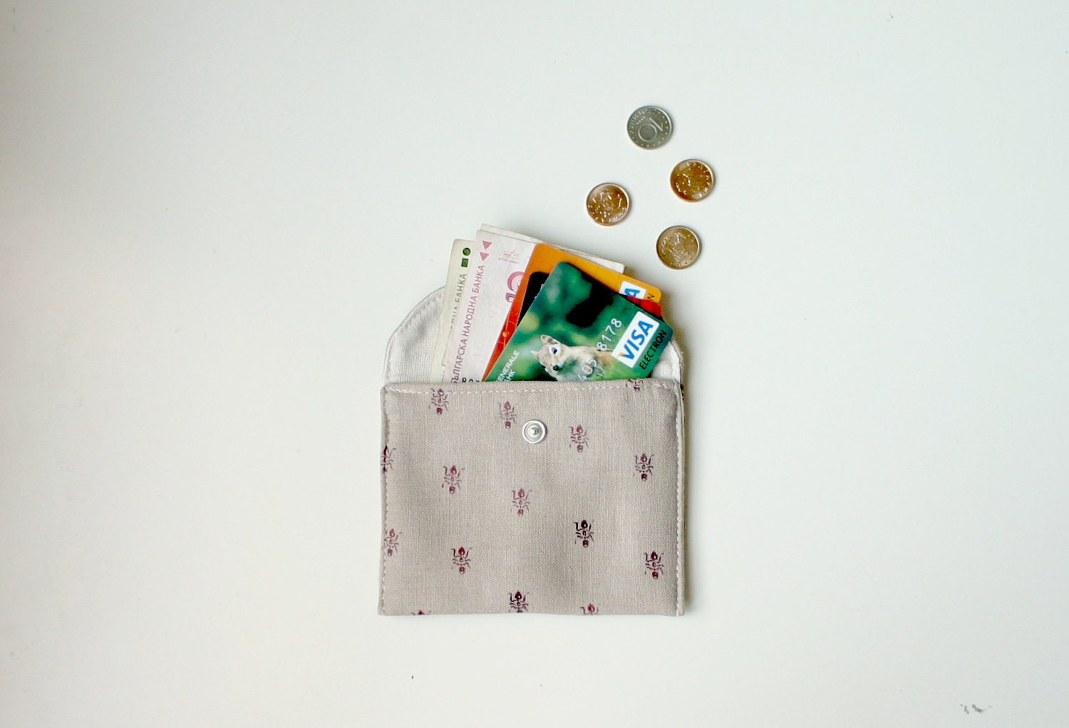 Small wallet Card case Card holder Hand stamped fabric Ants - TwoLittleAnts