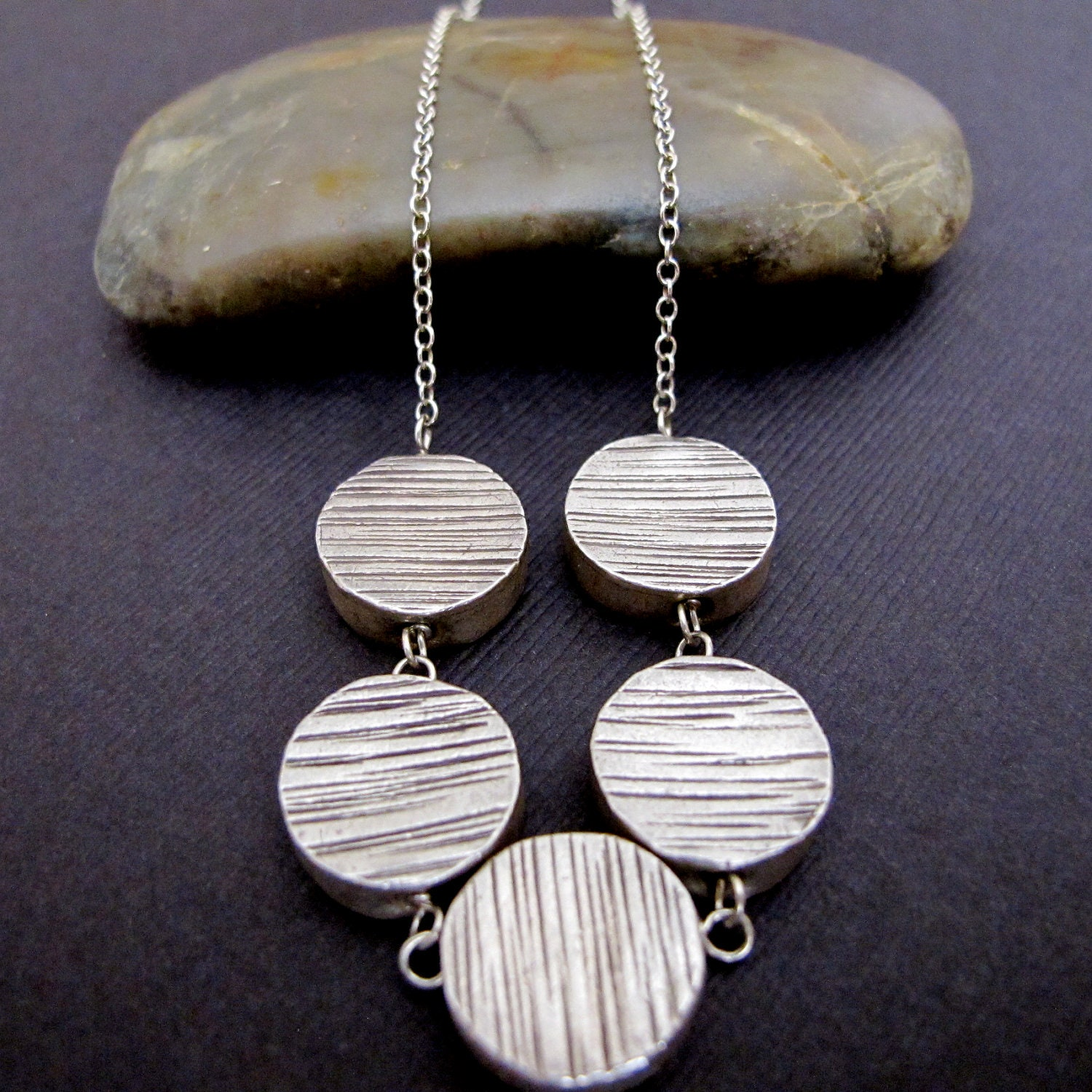 Woodgrain Silver Disc Necklace