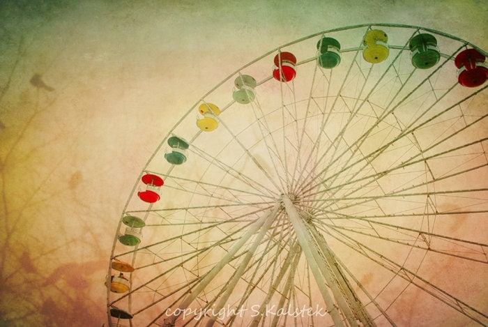 Surreal Ferris Wheel Photograph Carnival Ride with Birds Soft Pink Yellow Green Carnival Wall Art 12x8 - KalstekPhotography