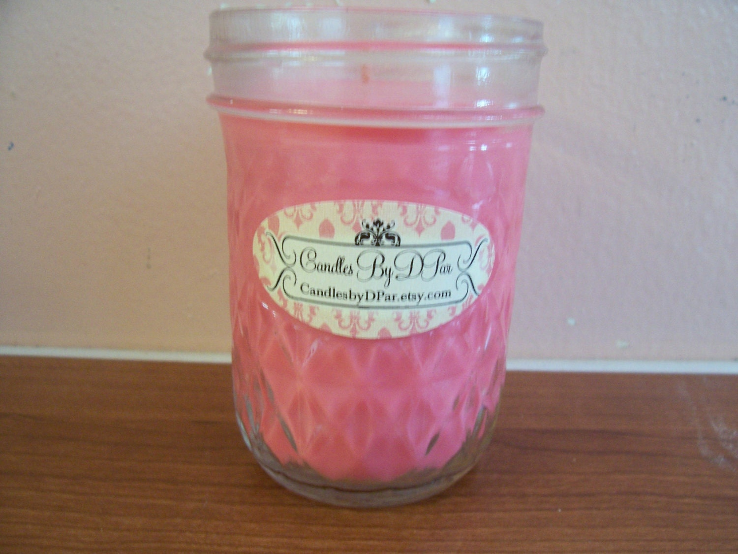 Hand Poured Valentine Rose Scented Soy Jelly Jar Candle