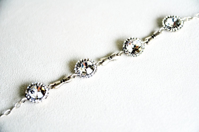 art deco clear crystal swarovski rhinestone tibetan silver plated adjustable bracelet wedding bridal jewelry bridesmaids jewelry set - sestras