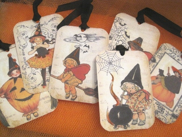 Vintage Style Halloween Gift Tags - Retro - Children - Ballerina - Witches - Pumpkins - Glass Glitter - Buy Three Get One Free