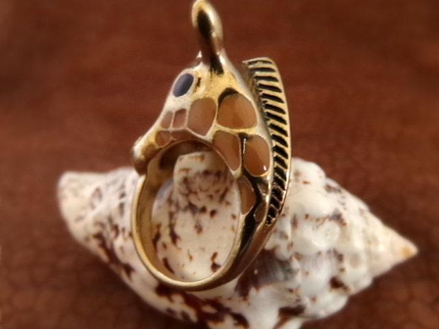 Antique Gold Giraffe Ring - Giraffe Head Ring - Animal Print Jewelry - $12.99 USD