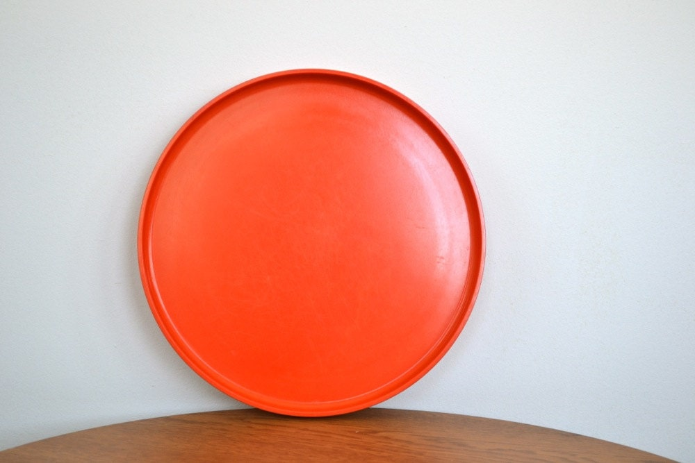 Bright Orange Stacking Heller Dinner Plate - anestamoby