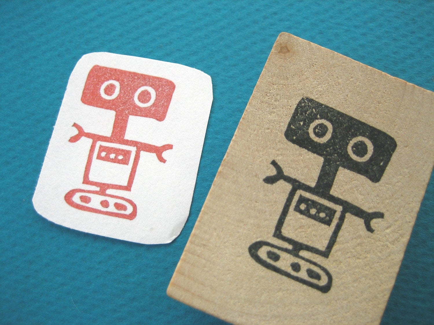 Cute  Robot Rubber Stamp 2, Hand Carved