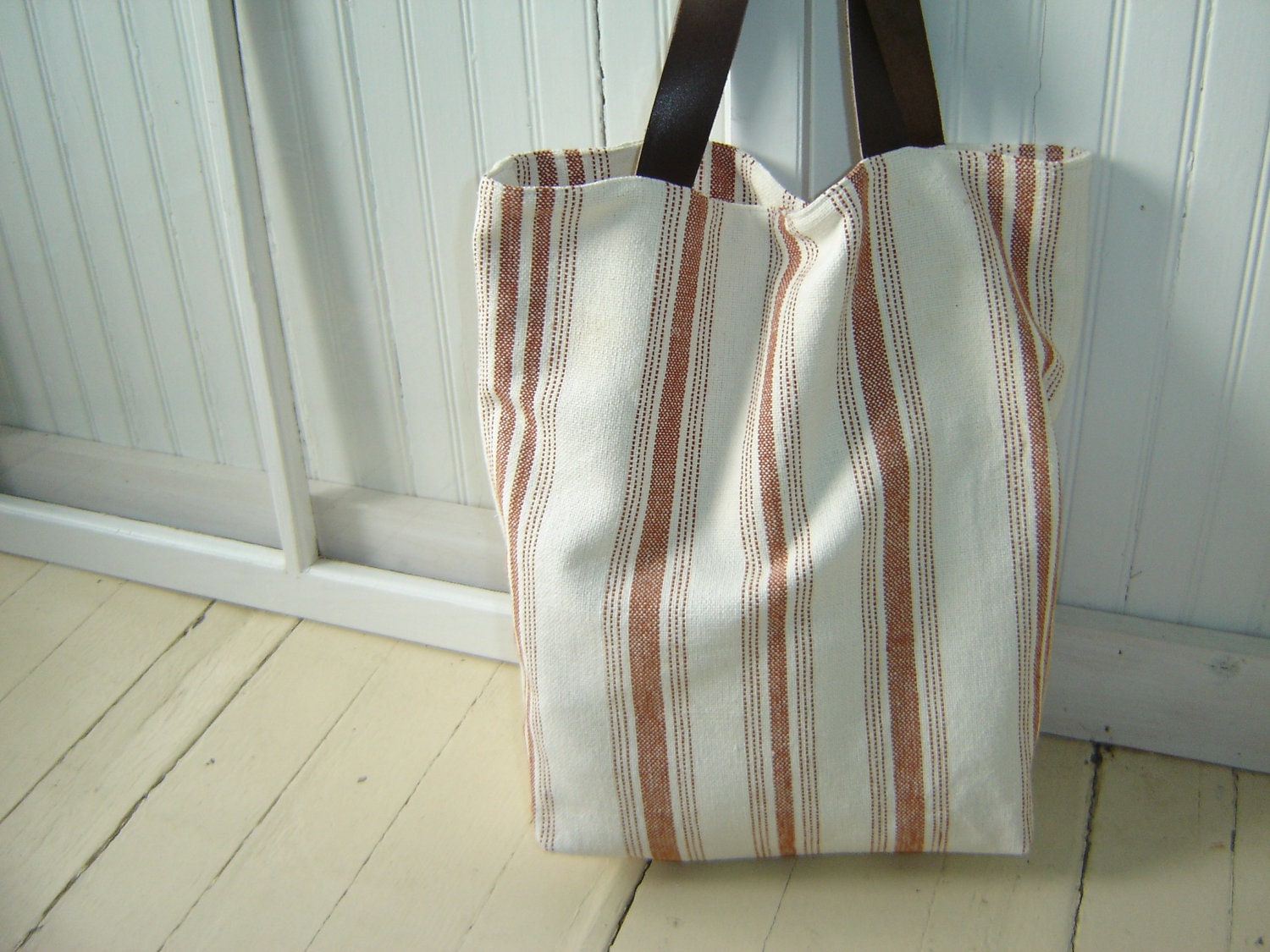 French Linen Tote Bag with Leather Handles - SewTrendy