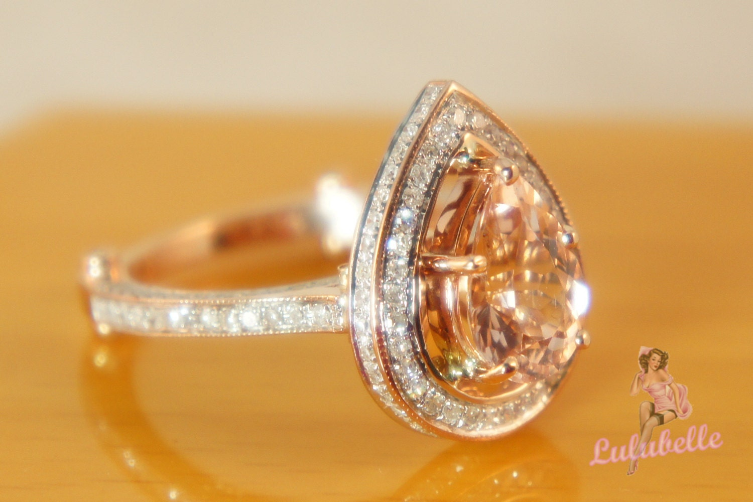 Deposit The Pear Alencon lace Sparkler - Morganite and diamond 14k rose gold engagement or wedding ring pave and milgrain