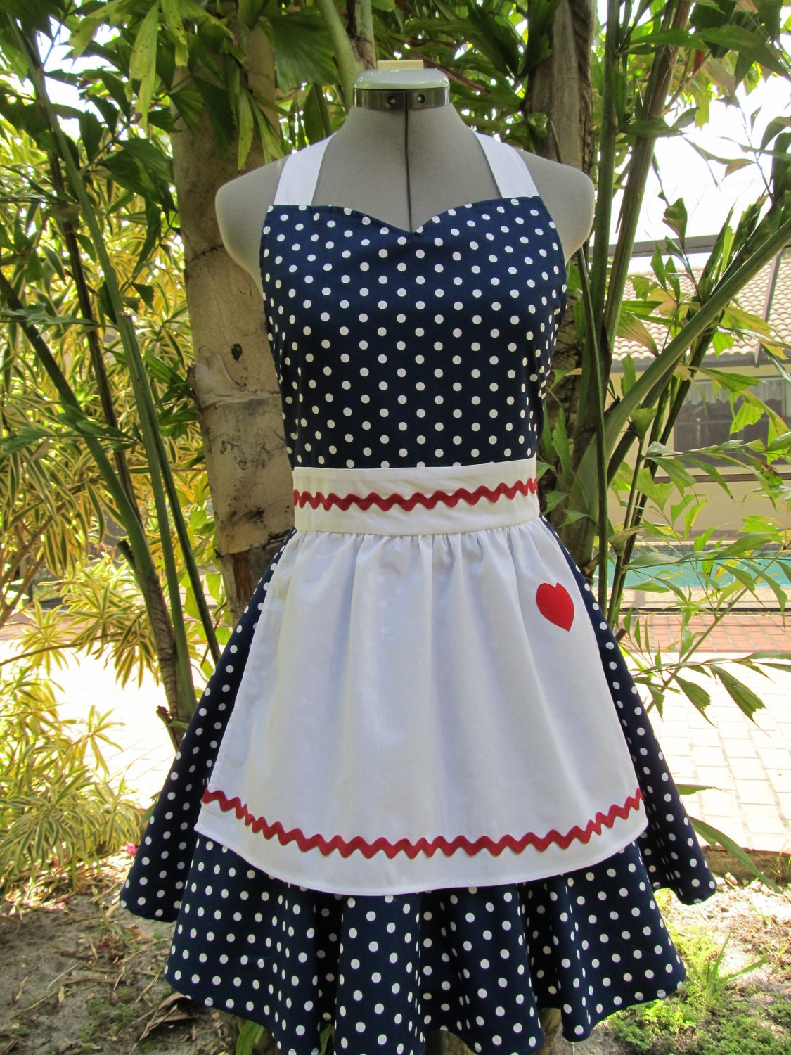 I Love Lucy  Apron.. Vintage Inspired Sweetheart Style with a handmade Heart..Navy Blue Fabric with white polka dots