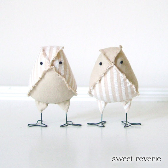 RUSH - Custom MINI Wedding Cake Topper Vintage Fabric Love Birds, Design Your Own, Customizable Wedding Color Bird Toppers - Made to Order - asweetreverie