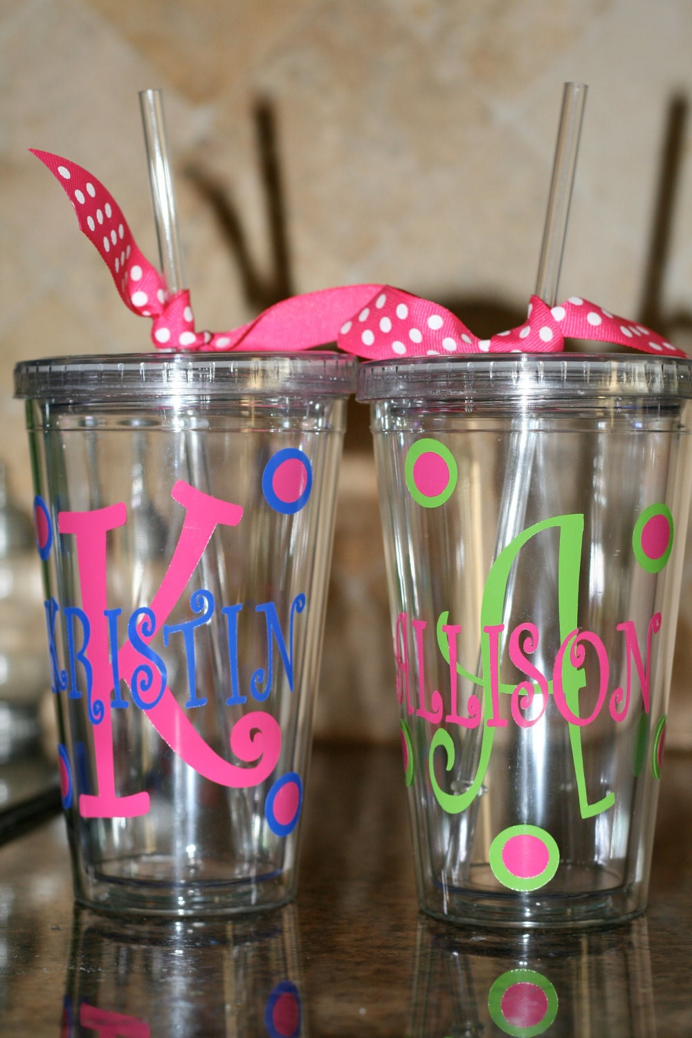 Personalized cup with lid and straw ebay for Vinyl letters for plastic cups