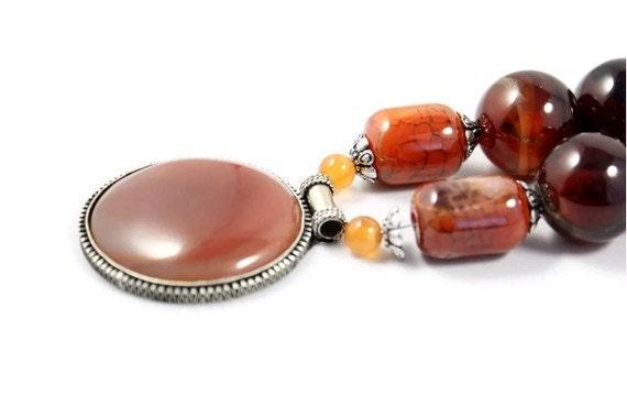 Chunky orange necklace rust color tribal jewelry - Ahkriti