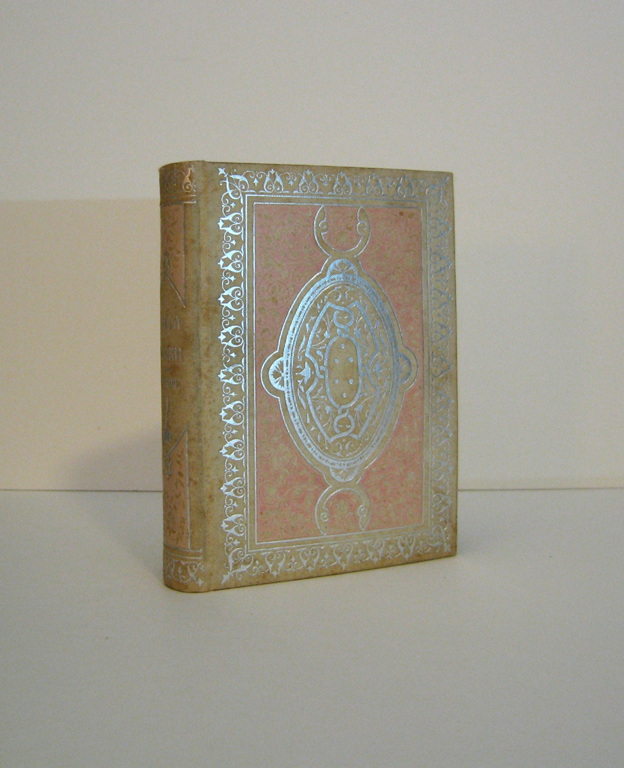 Lalla Rookh by Thomas Moore Small Antique Victorian Era Book from circa 1898 Bound with Silver and Pink Design Published in New York - ProfessorBooknoodle