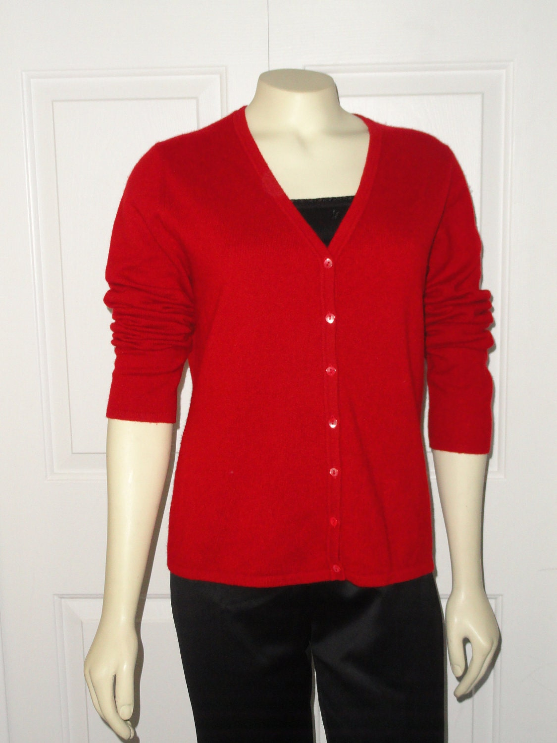 SALE Vintage Cashmere Cardigan Leyla Mitra for Jacobsons Christmas Red V neck M