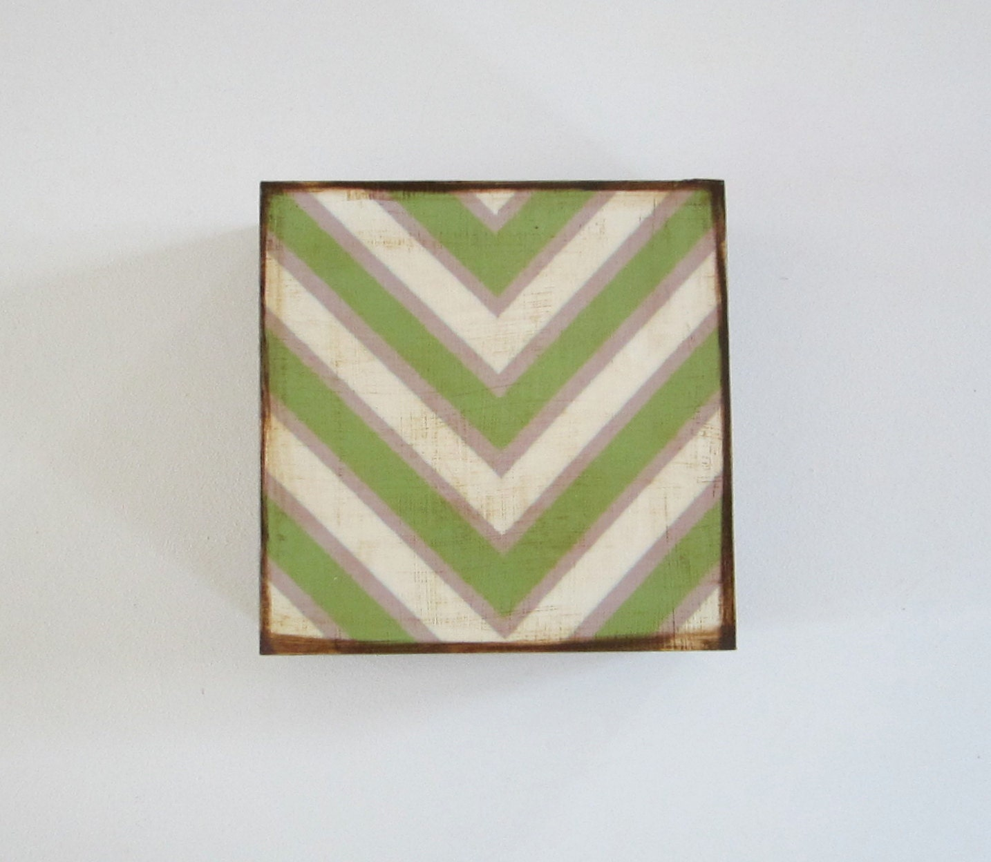 V Pattern 5x5 art block wood Chevron Military Green Gray White  graphic modern pattern shapes red tile studio - redtilestudio