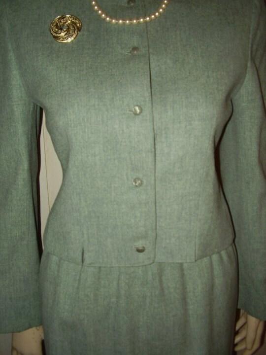 60's Vtg Green Wool Pendleton Mad Men Secretary Skirt Suit