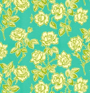 Heather Bailey fabric - Pop Garden - Wallpaper Roses in Turquoise - 1/2 yard