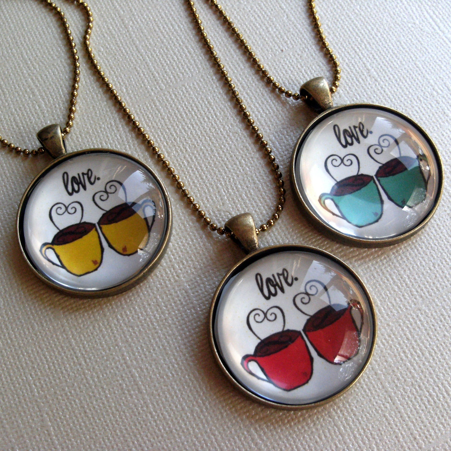 Coffee Love - Mustard Yellow - Wearable Art Necklace