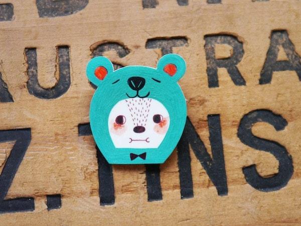 Sea Green Bear - Shrink Plastic Brooch
