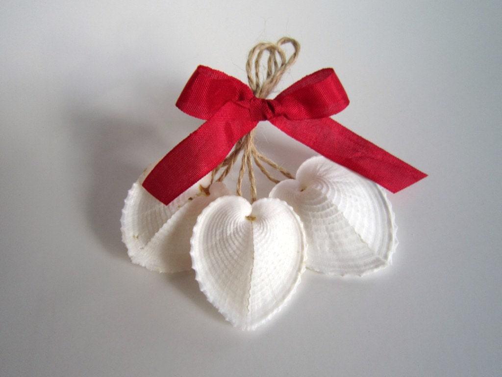 Valentine Heart Ornaments -set of 3- heart seashell white Valentine decorations valentines gifts wedding decor beach decor wedding favors