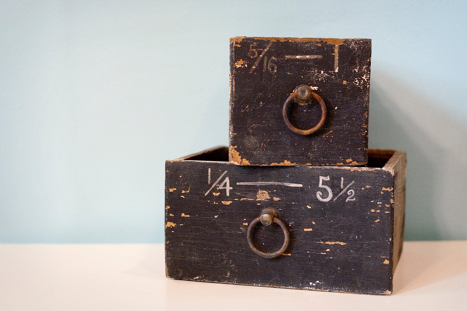 Hardware Store Drawers, Set of Two, Black With White Numbers