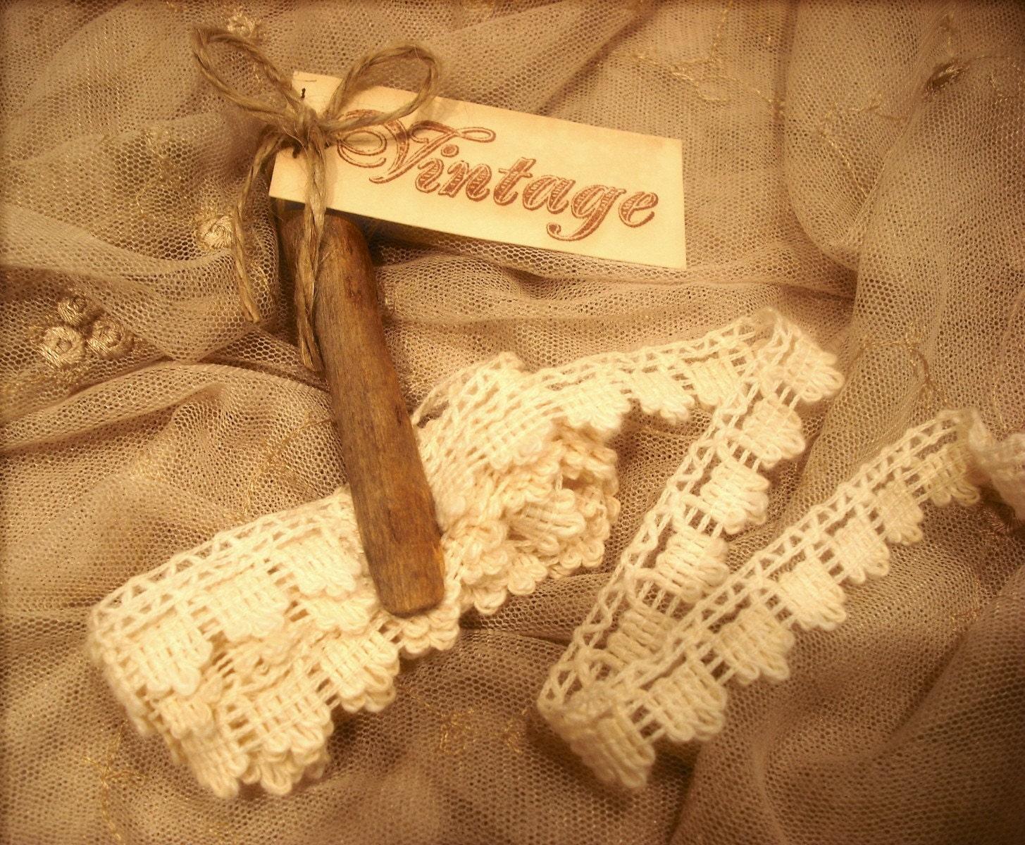 2 ярда Париже Блошиный / французский рынок Vintage кружево Вязание / Vintage прищепка / VINTAGE тегов