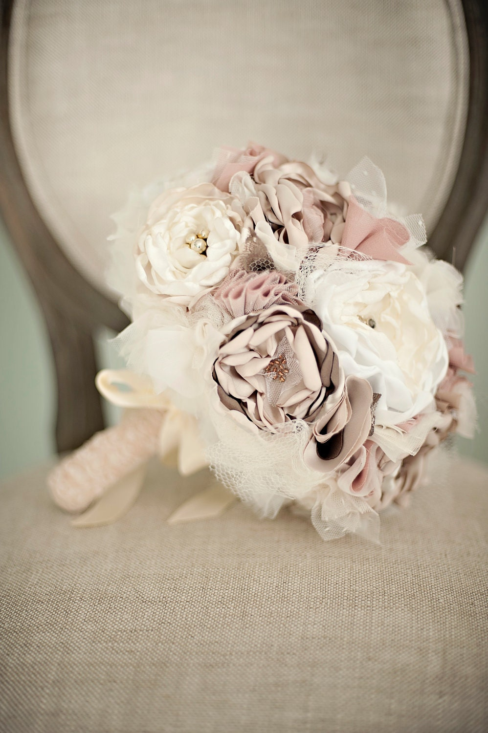 Fabric Flower Custom Wedding Bouquet.  Champagne, Dusty Rose Ivory with pearls, lace, vintage jewelry, rhinestones