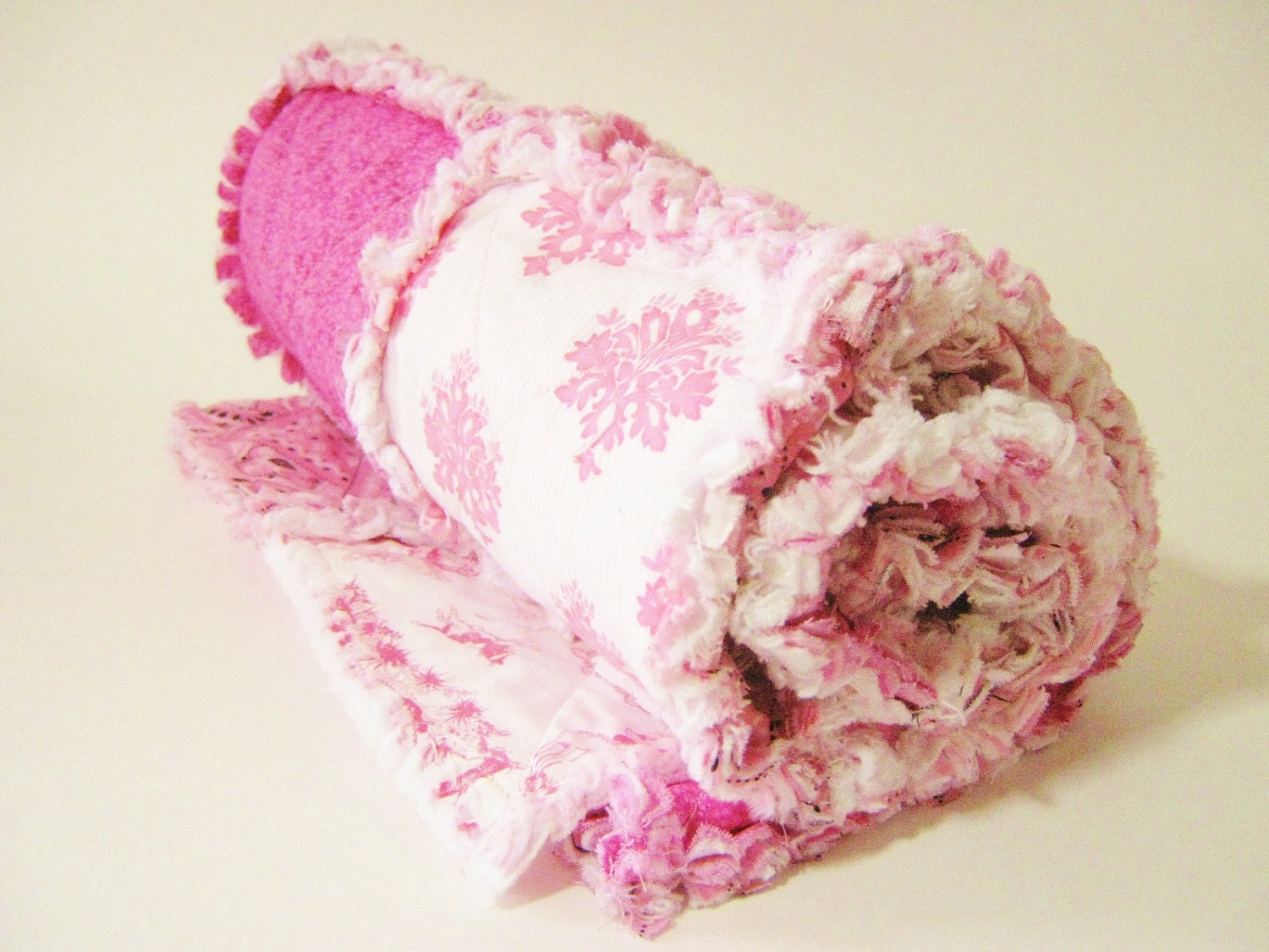 Rag Quilt-  Pink and White Baby Girl Stroller Blanket- Cuddly and Soft Car Seat Blanket- Shabby Chic  Quilt