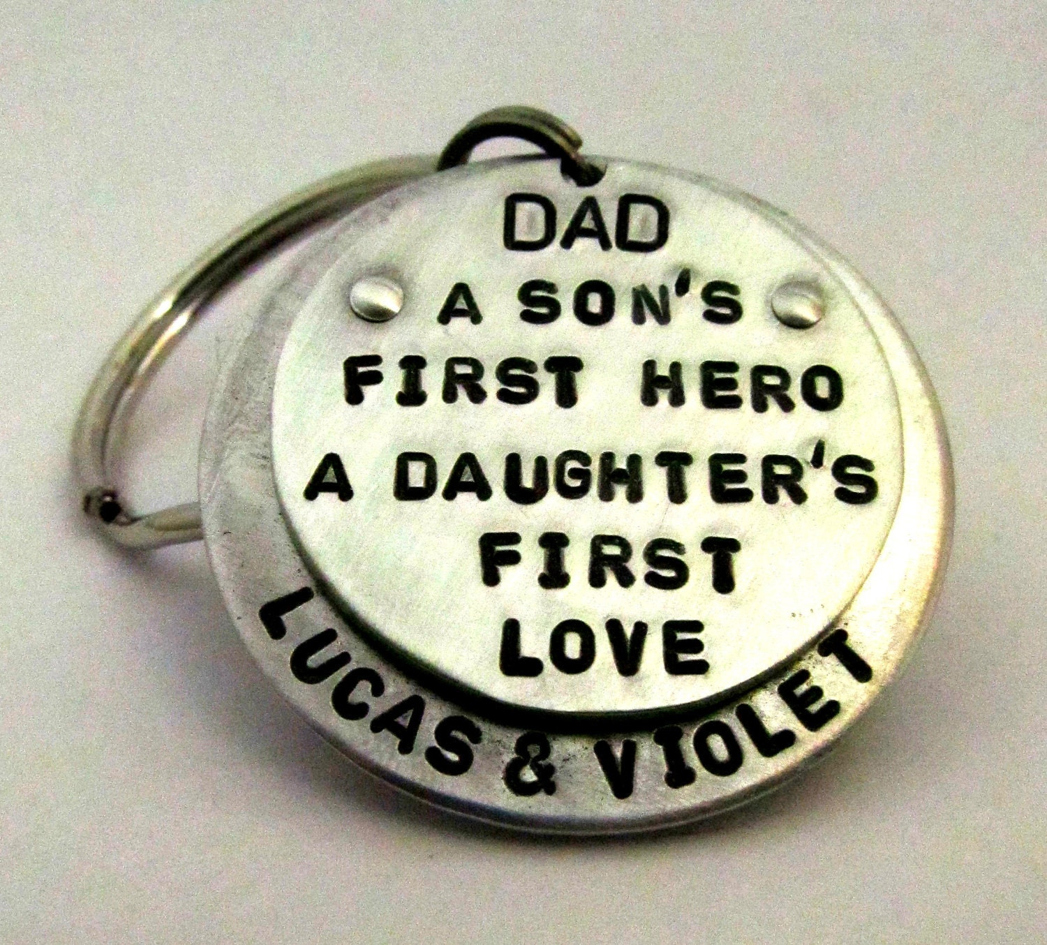 Personalized Father's Day Dad Key Chain - Layered and Riveted - Hand Stamped Key Chain - Gift for Him Hero First Love - FiredUpLadiesHammer