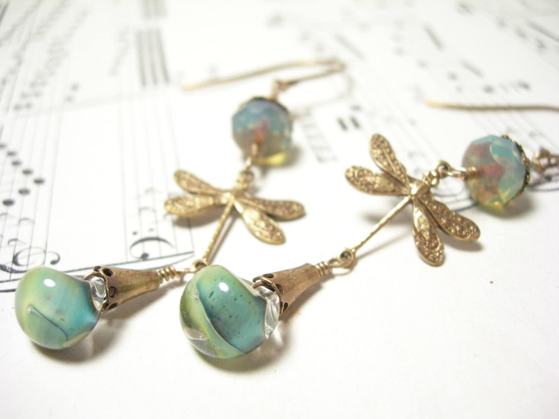 Dragonfly earrings sage green lampwork mint glass brass garden handmade - pamelasjewelry
