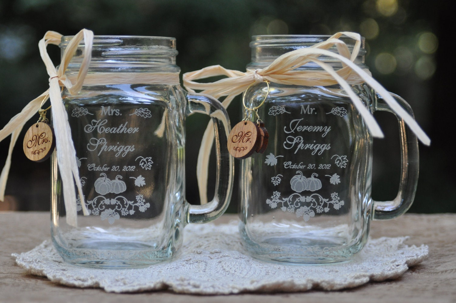 Fall Wedding Glasses, Mason Jars, Personalized, Fast Shipping, Engraved, Pumpkin Patch, Harvest Festival