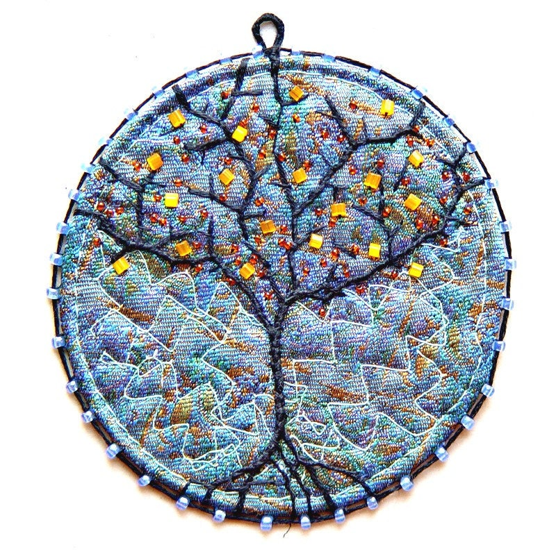 Hand made quilted tree, embroidered pendant  Orange Tree