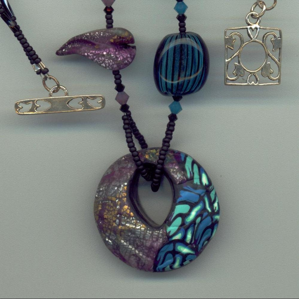 Asymmetrical Necklace with Polymer Clay Pendant