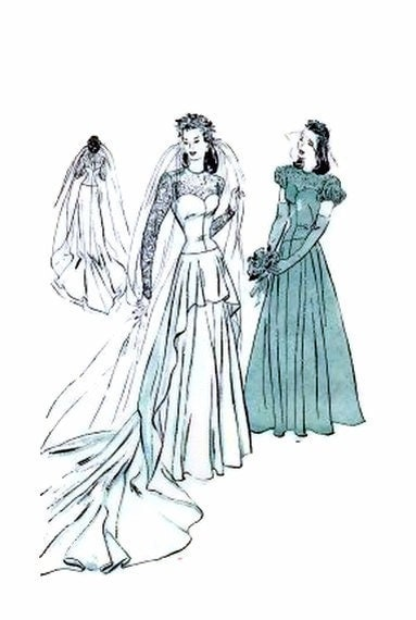 1940 39s Butterick 4420 Vintage Sewing Pattern Bridal Gown Cascade Drapery