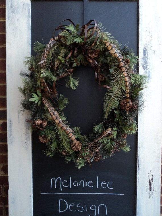 Casual Pinecones, Oak Leaves, Fern, and Silk Feathers Wreath