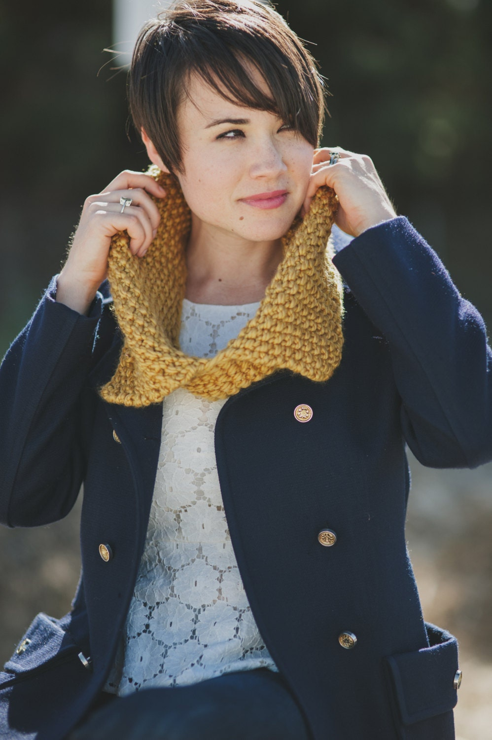 Chunky Knit Cowl Collar